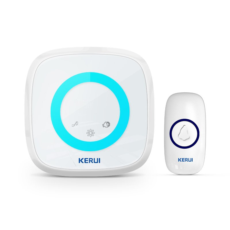 Kerui M516 Wireless Doorbell with F55 Push Button, Operating at over 500 Feet with 52 Chimes, 5 Volume Levels, 4 Working Modes, LED Indicator, 1 Plugin Receiver & 1 Push Button