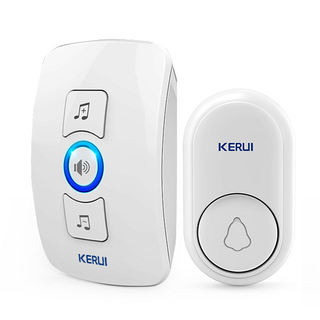 Kerui M656 Wireless Doorbell with F56 Push Button, Operating at over 650 Feet with 32 Chimes, 4 Volume Levels, 3 Working Modes, 1 Plugin Receiver & 1 Push Button